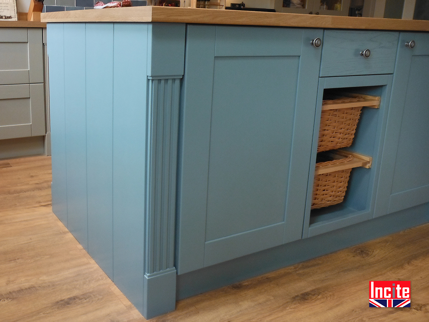 free standing kitchen island cover bespoke custom made painted fitted kitchens incite derby
