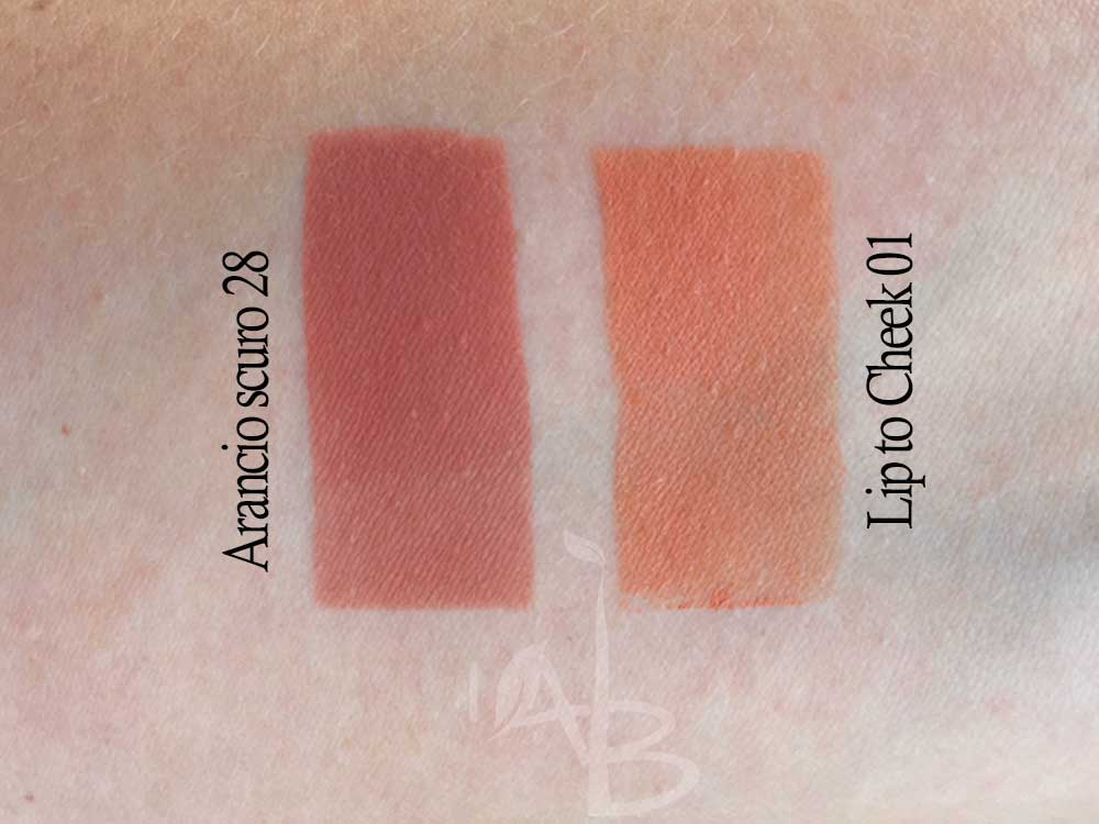 Ombretto Arancio scuro vs Lip to cheek 01 Purobio Cosmetics