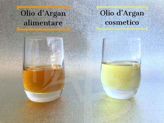 Differenze visive tra l'olio di argan alimentare e cosmetico