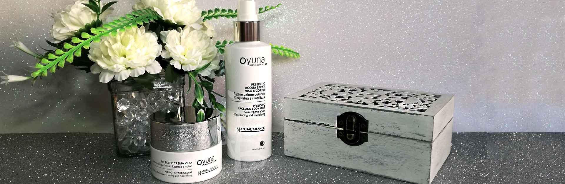 Linea natural balance crema viso e acqua spray di Oyuna