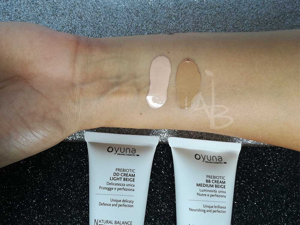 Swatches BB e DD Cream Natural Balance di Oyuna