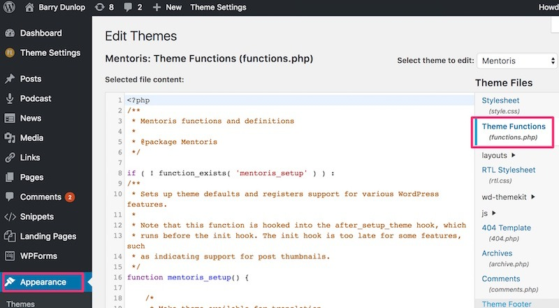 theme functions php