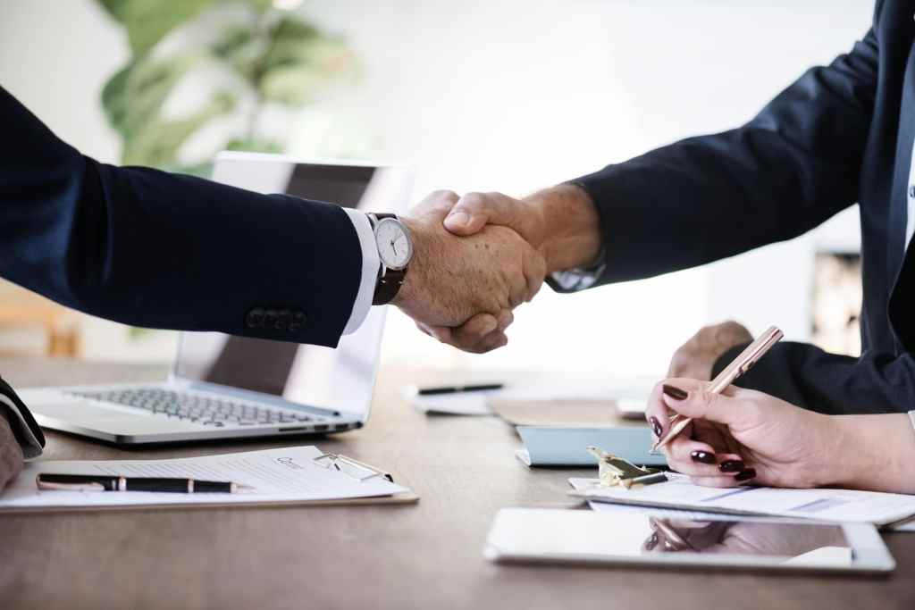 Handshake after financing a business