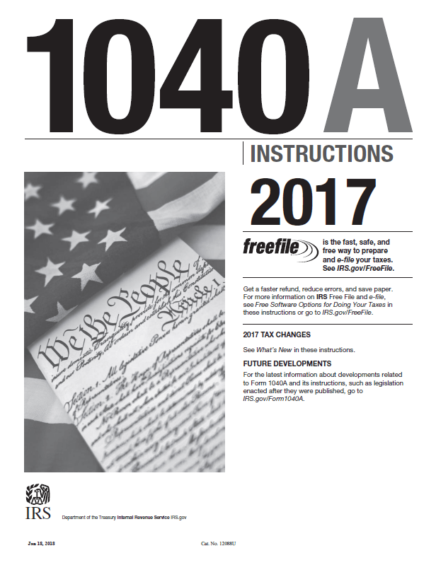 2017-form-1040a-instructions Tax Form A Example on social security benefits worksheet, federal tax forms printable, earned income credit worksheet, income tax form,