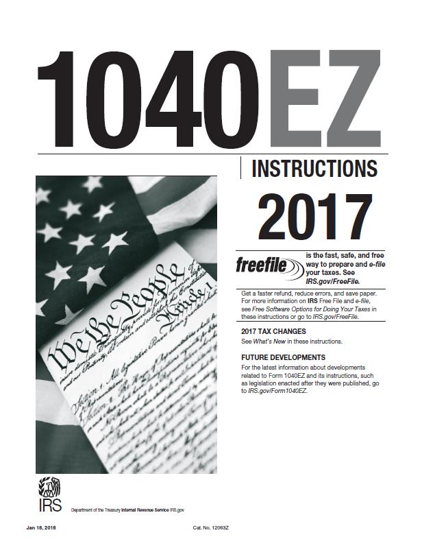 form 1040ez 2017 fillable