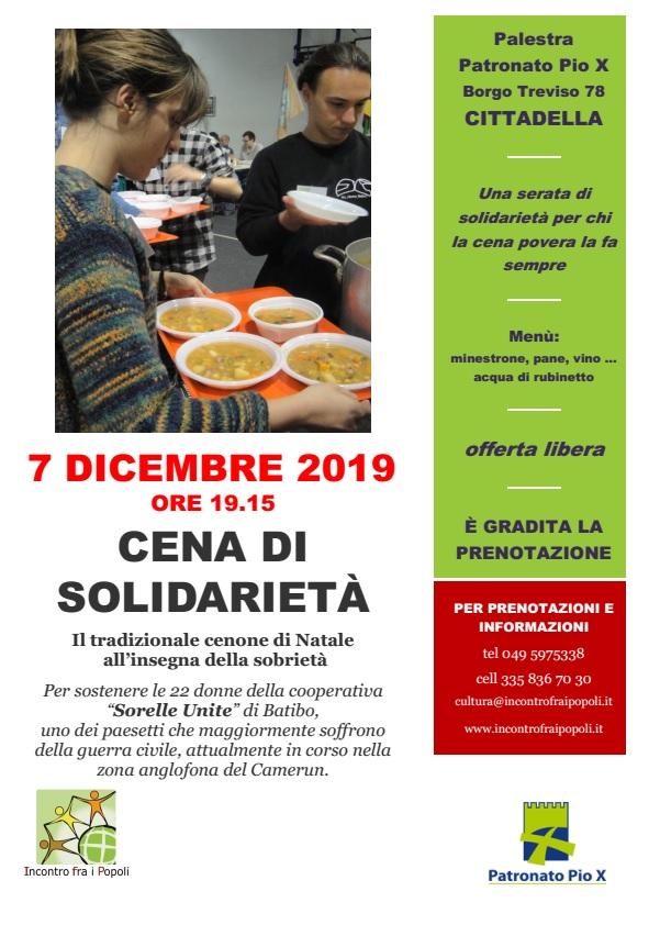 Locandina della cena di solidarietà 2019