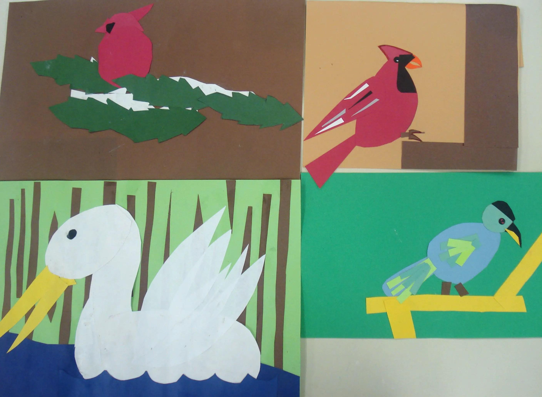 Art Lesson Cut Paper Bird Collage