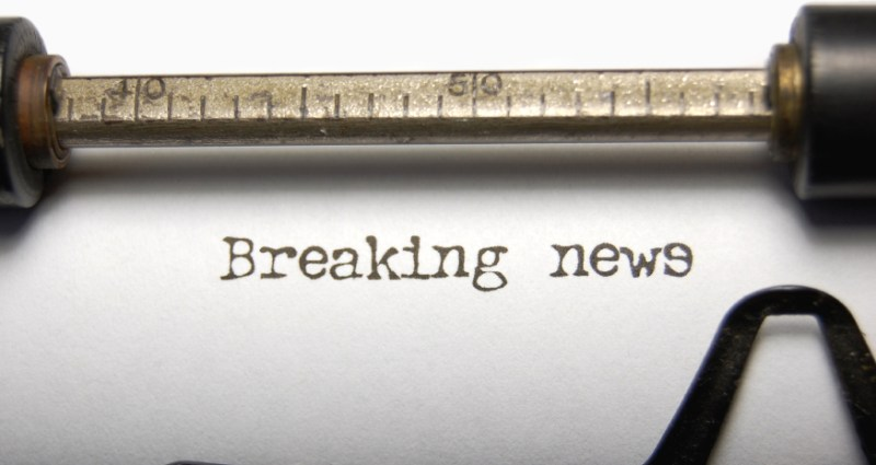 Closeup of the words Breaking News on an old typewriter