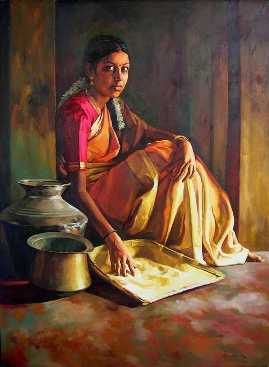 25 Beautiful South Indian women Paintings by Elayaraja