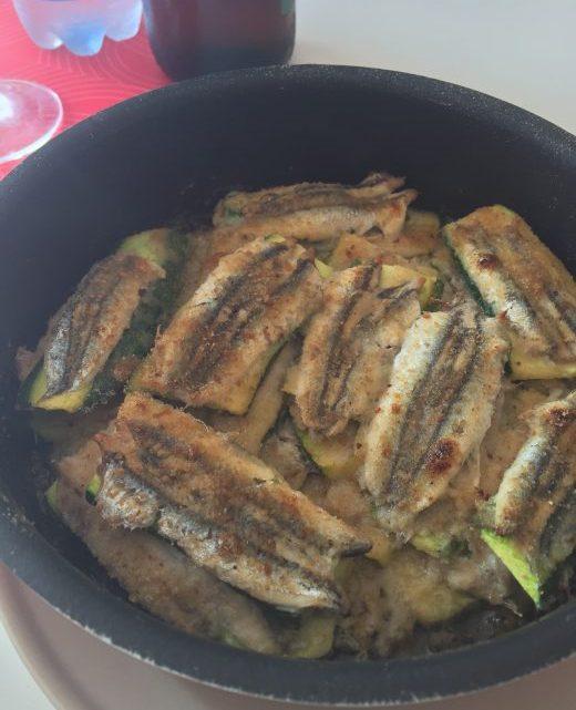 Alici fresche con zucchine gratinate