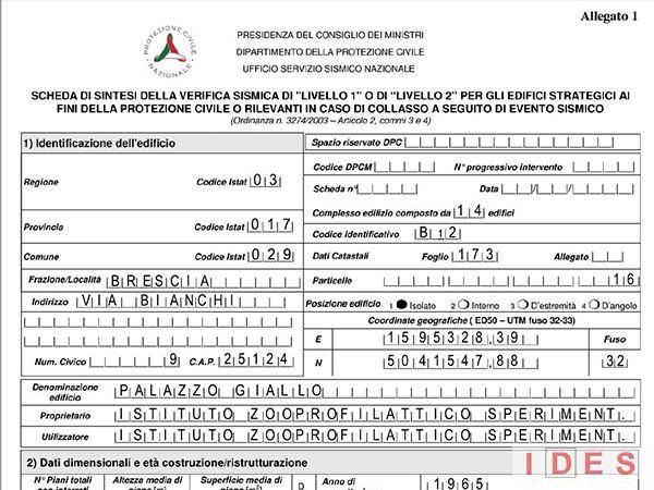 """I.Z.S. """"Ubertini"""" - Palazzo Giallo - Brescia - Scheda Protezione Civile"""