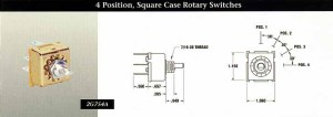 INDAK Switches 4 Position, Square Case Rotary Switches