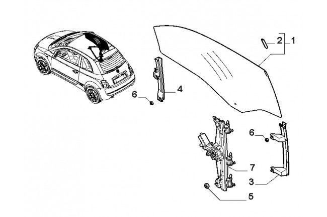 Alzacristallo destro con motorino elettrico FIAT 500