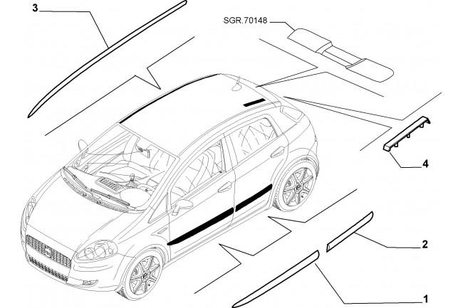 Modanatura esteriore destra posteriore FIAT Grande Punto