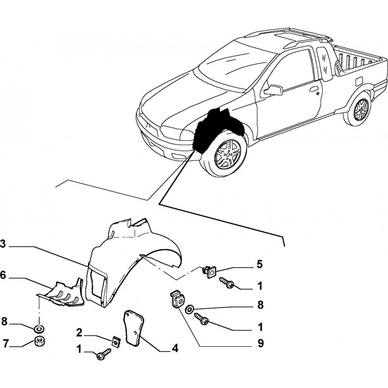 Riparo sinistro FIAT Palio 2002/2008 Strada 1999-2005