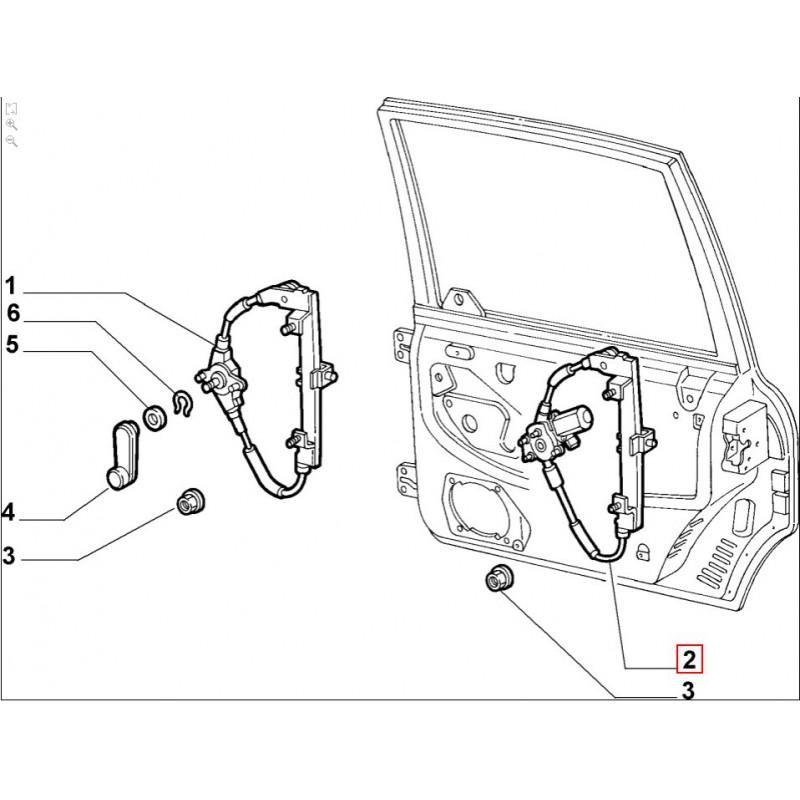 Alzacristallo posteriore sinistro FIAT Multipla dal 1998