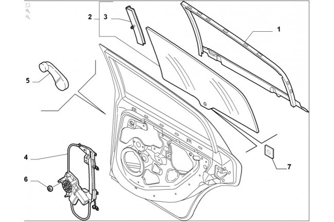 Alzacristallo posteriore sinistro FIAT Grande Punto Dal
