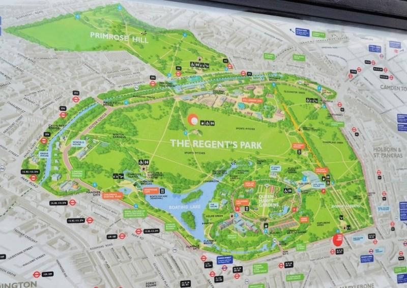 Mapa do Regent's Park
