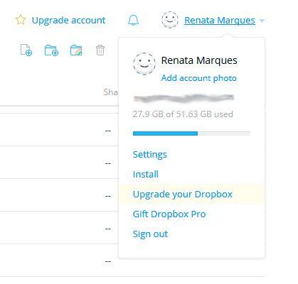 Como não amar minha capacidade do Dropbox?