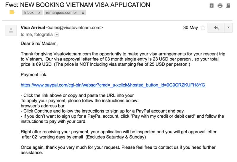 email do visto para o vietnã