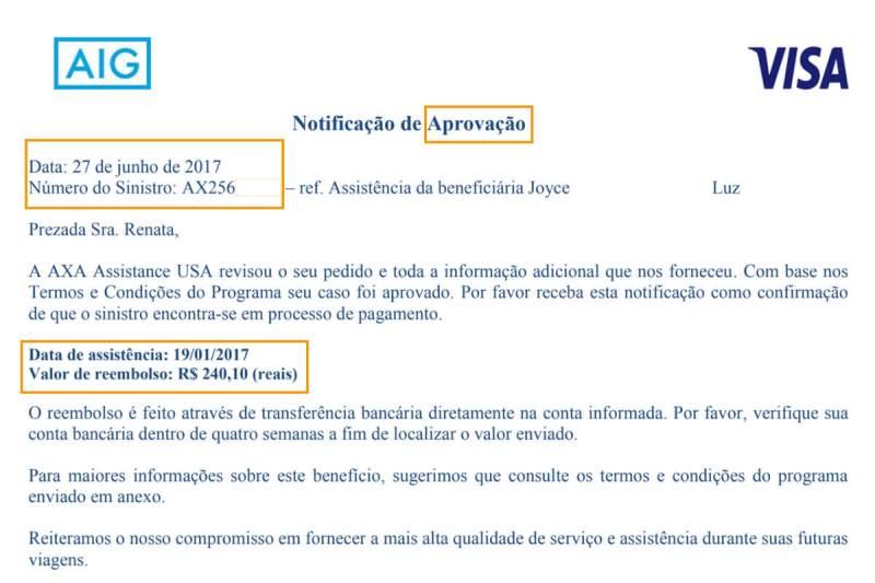 Troca de emails com a seguradora do cartão de crédito Visa