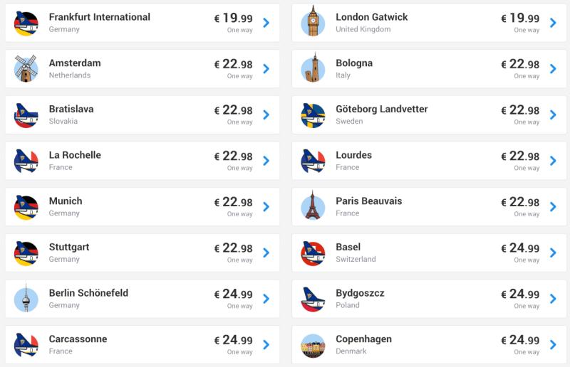 promoções low cost na europa