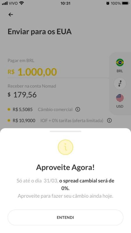 Aba adicione dinheiro para transferir do brasil para os estados unidos em dólar