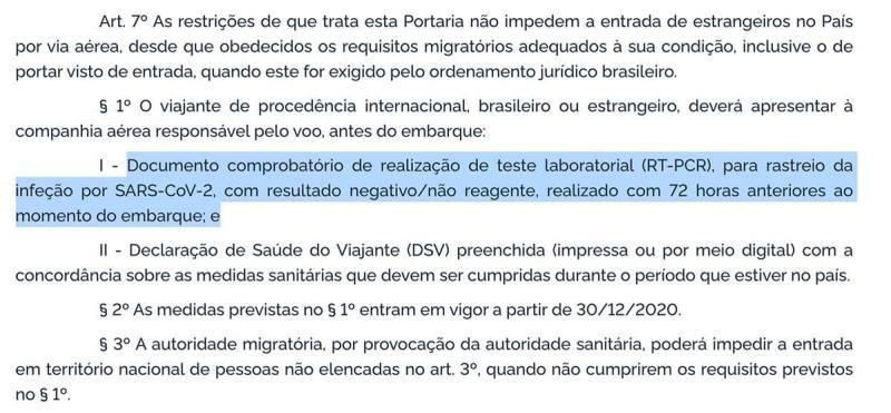 texto da portaria 630 do brasil que estabelece necessidade de teste PCR ao voltar de cancun ao brasil