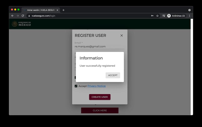 Ao acessar o site vuela seguro do México, você precisa criar um cadastro antes de preencher o questionário de saúde (formulário)