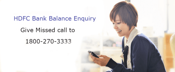 SMS Banking - hdfc account balance by missed call