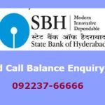 State Bank of Hyderabad Missed Call Balance Enquiry Number