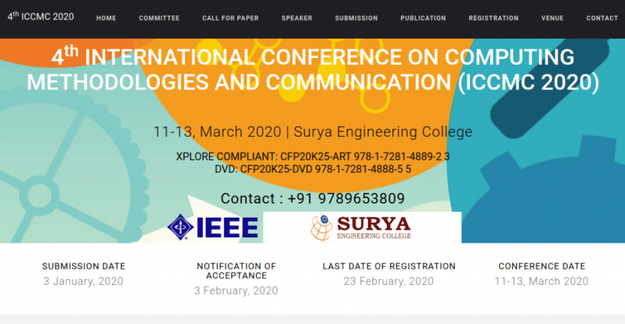 International Conference on Computing Methodologies and Communication ICCMC 2020, Surya Engineering College, International Conference, Erode