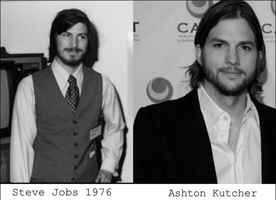 Grote gelijkenis tussen hoofdrolspeler Ashton Kutcher en Steve Jobs