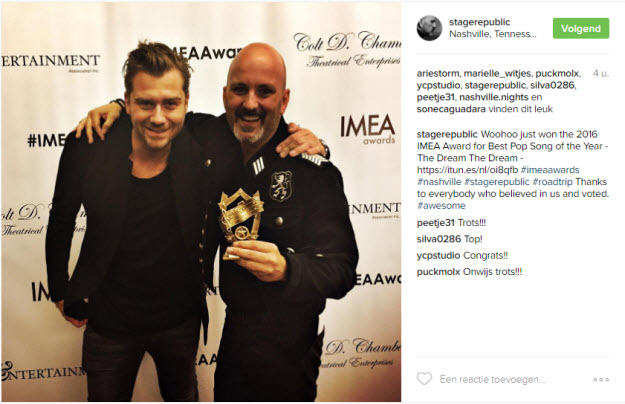 Stage Republic wint 2016 IMEA Award for Best Pop Song