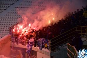 Fakkels in het uitvak met Dynamo Kiev fans. Foto afkomstig van http://wbc.kiev.ua/