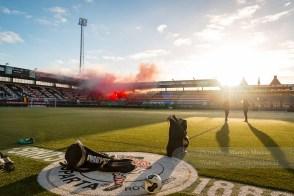 Opkomst van de Sparta spelers tijdens de laatste training voor de stadsderby tegen Feyenoord