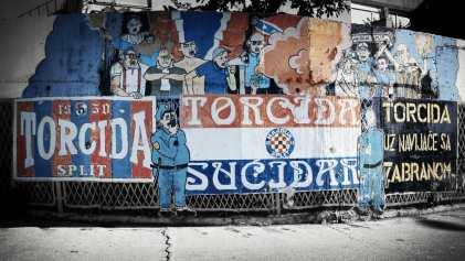Eén van de vele prachtige muurschilderingen van Torcida