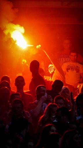 Pyro actie van Wisla Krakau ultra