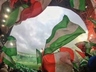 Sfeeractie tijdens Feyenoord-PSV, vanaf vak V.