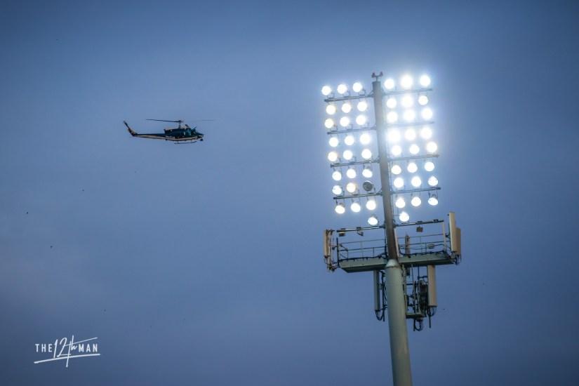 De lichtmast van NK Maribor tijdens de Slovenia Derby