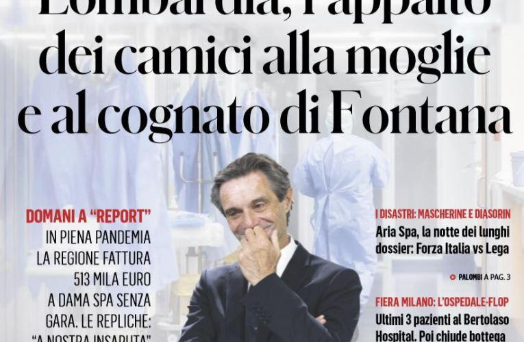 Report scopre la storia dei camici forniti in Lombardia dalla ditta del cognato e della moglie di Fontana