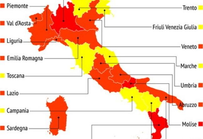 Il nuovo Dpcm anti Covid: come cambiano le regioni dal 16 gennaio