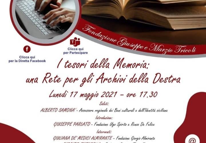 I tesori della memoria. Convegno on line promosso dalla Fondazione Giuseppe e Marzio Tricoli.
