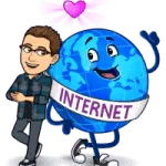 Matt BitEmoji Standing next to a globe with a sash saying 'Internet, why blogging is important, copywriter, work