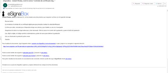 Email que recibe el firmante para iniciar el proceso de videofirma. Este email puede personalizarse con el look and feel del cliente
