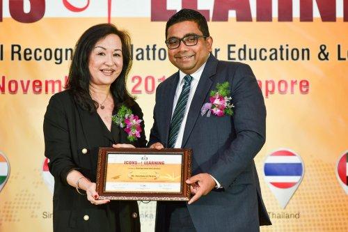 AIS Principal Harshana Perera honored at Icons of Learning Summit, Singapore