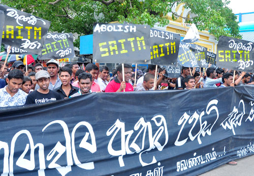 Police fire tear gas and water cannons to disperse SAITM protesters