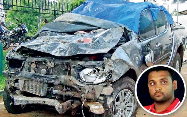 State Minister's son arrested for crashing ministry vehicle into a house