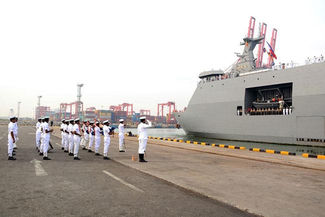 Philippine Navy ships depart the island