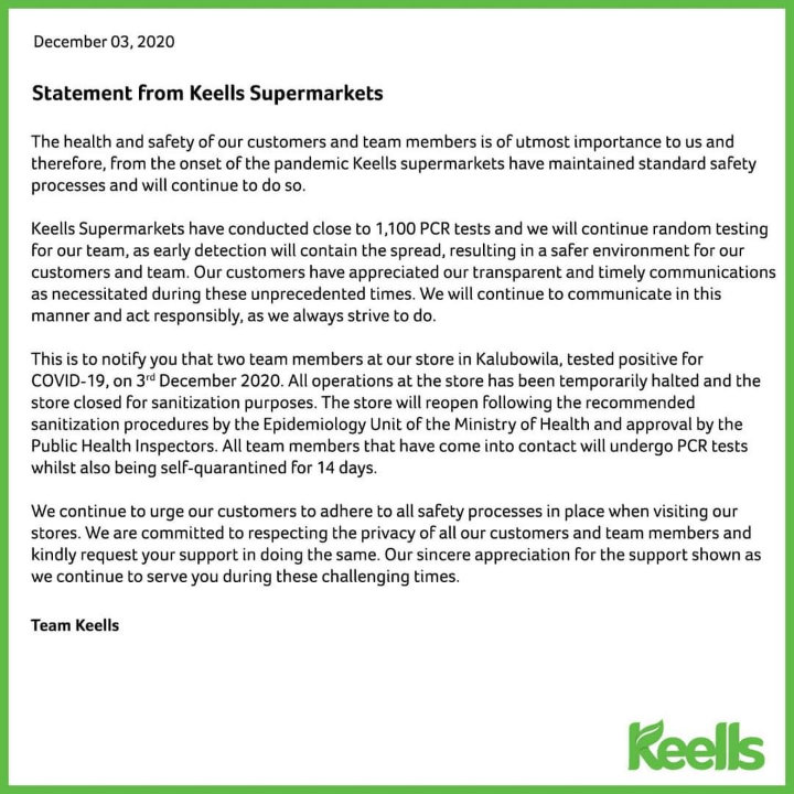 Keells Kalubowila closed after 2 staff members test positive for CV-19